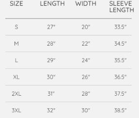 HOSA Sweater Sizing Chart