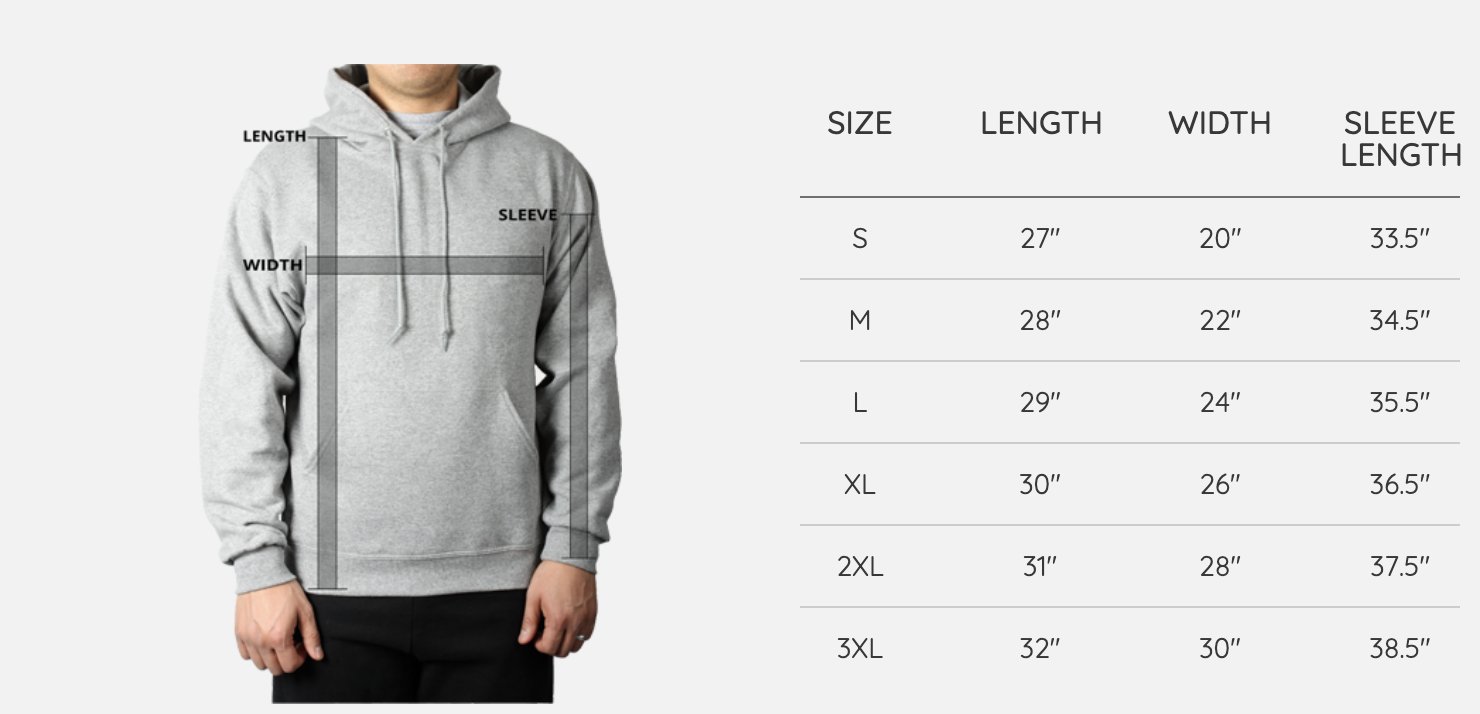 RWU Sweater Sizing Chart